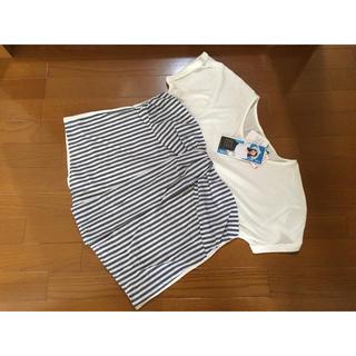 シマムラ(しまむら)の★ビスチェ風Tシャツ カットソー 半袖シャツ LLサイズ 大きいサイズストライプ(Tシャツ(半袖/袖なし))
