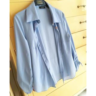 クーカイ(KOOKAI)のクーカイ KOOKAI ブルー ドレス シャツ 襟 カーデシャツ(シャツ/ブラウス(長袖/七分))