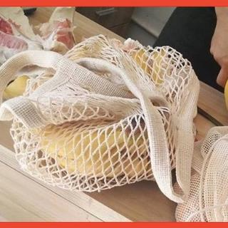【オフホワイト】バッグ ネットバッグ 手提げ メッシュバッグ おしゃれ 収納 (エコバッグ)