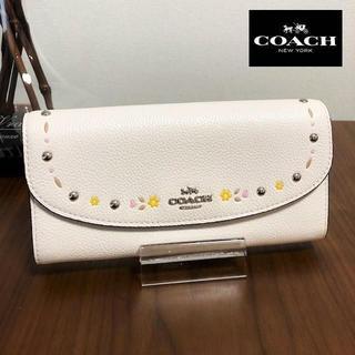 コーチ(COACH)の送料無料 極美品 コーチ コインケース 長財布 花柄 白 F26786 M022(財布)
