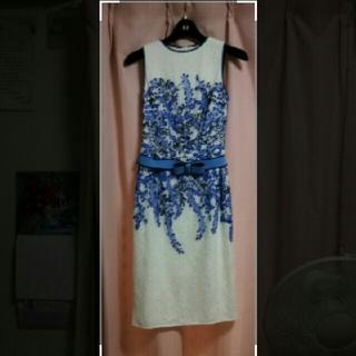 タダシショウジ(TADASHI SHOJI)の♥タダシショージ♥フラワー刺繍ドレス サイズ0♥(ひざ丈ワンピース)