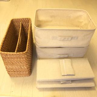 ムジルシリョウヒン(MUJI (無印良品))のポリエステル綿麻混ソフトボックス、バッグホルダー、ラタンマガジンラックセット(ケース/ボックス)