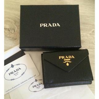 プラダ(PRADA)の【よう様専用】PRADA 極ミニ財布 三つ折り財布 ブラック(財布)