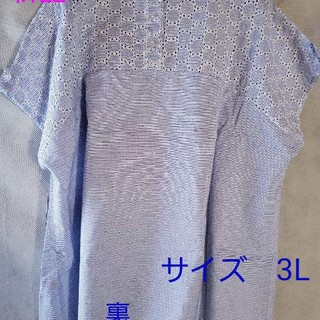 シマムラ(しまむら)の3L 大きいサイズ ボーダー柄×刺繍柄 カットソー(カットソー(半袖/袖なし))