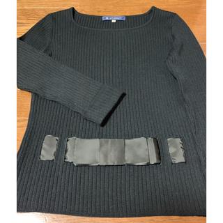 エムズグレイシー(M'S GRACY)のエムズグレーシー 定番 リボン  リブニット セーター 黒(ニット/セーター)
