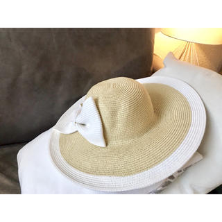 イタリア購入 女優帽ストローハット 大きな爽やかおリボン