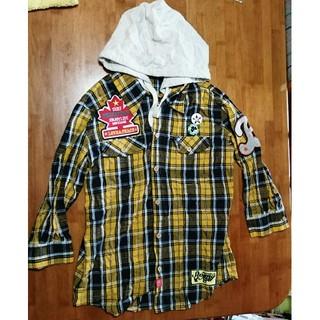 バズスパンキー(BUZZ SPUNKY)のbuzzspunky フード付き チェックシャツ L イエロー(シャツ)