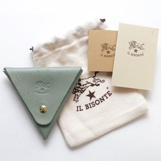 イルビゾンテ(IL BISONTE)の新品 イルビゾンテ コインケース グリーン 小銭入れ ブランド 三角形 ケース(コインケース)
