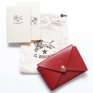 イルビゾンテ(IL BISONTE)の新品 イルビゾンテ カードケース レッド レザー 名刺入れ ブランド オリガミ(名刺入れ/定期入れ)