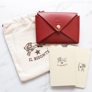イルビゾンテ(IL BISONTE)の新品 イルビゾンテ 名刺入れ オリガミ レッド カードケース ケース ブランド(名刺入れ/定期入れ)