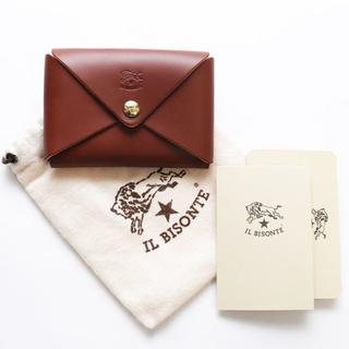 イルビゾンテ(IL BISONTE)の新品 イルビゾンテ カードケース あか茶 レザー 名刺入れ ブランド オリガミ(名刺入れ/定期入れ)