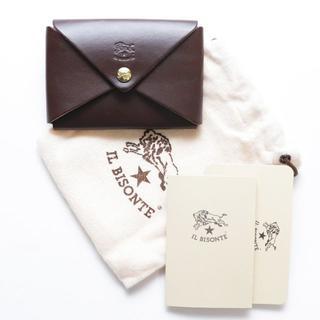 イルビゾンテ(IL BISONTE)の新品 イルビゾンテ カードケース こげ茶 レザー 名刺入れ ブランド オリガミ(名刺入れ/定期入れ)