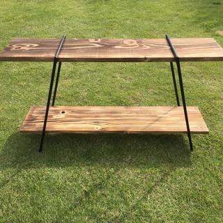アイアンラック 2段タイプ 鉄脚2脚  焼き目板2枚 / アイアン 棚 キャンプ(アウトドアテーブル)