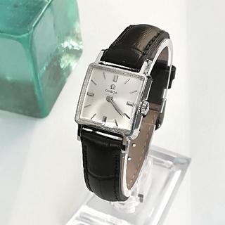 オメガ(OMEGA)の綺麗 オメガ アンティーク スクエア 時計 レディース 型押し 新品ベルト 美品(腕時計)
