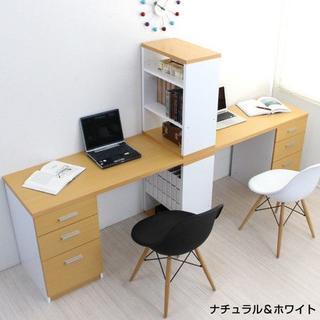 新品 ツインデスクセット 書棚付きラック 3段チェスト(学習机)