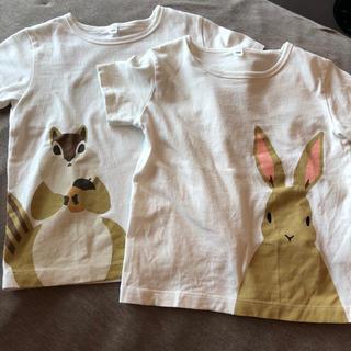 ムジルシリョウヒン(MUJI (無印良品))の無印良品 Tシャツ うさぎ リス 2枚セット 100(Tシャツ/カットソー)