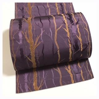 上質 正絹 博多 八寸名古屋帯 織り 六通柄 中古品(帯)