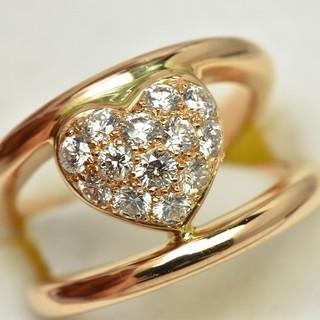 K18 750 合計 0.50ct ハート ダイヤモンドリング 5号 指輪  (リング(指輪))