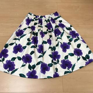 エムズグレイシー(M'S GRACY)のM'sグレイシー大人可愛い紫お花のスカート✨(ひざ丈スカート)
