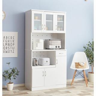 収納力抜群 食器棚レンジ台 炊飯器 ケトル ホワイト(キッチン収納)