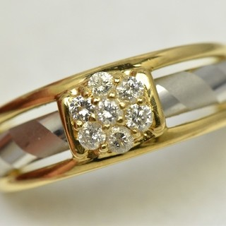 K18 Pt900 コンビ 合計 0.22ct ダイヤモンドリング 12号 指輪(リング(指輪))