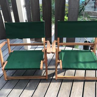 ニトリチェア グリーン 木折りたたみローチェア2脚セット(テーブル/チェア)