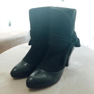 オゥバニスター(AU BANNISTER)のオゥバニスター ミドルブーツ ブラック 35新品 22.5(ブーツ)