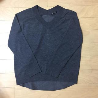 ニジュウサンク(23区)の極美品☆23区S 前後異素材Vネックセーター☆32サイズ(ニット/セーター)