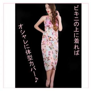 パレオ ビーチラップスカート ピンク 蝶 花 ビーチドレス リゾートドレス (その他)