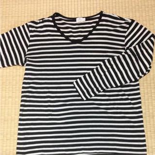 サンスペル(SUNSPEL)の美品 Sunspel ボーダー Tシャツ L  黒×白(Tシャツ/カットソー(七分/長袖))