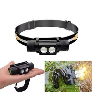 最新LED/CREE社製XP-L2×2灯 充電式デュアルヘッドライト 電池別(ライト/ランタン)