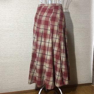 ほぼ未使用☆チェック柄 ロング丈 ドレープスカート ♡可愛い(ロングスカート)