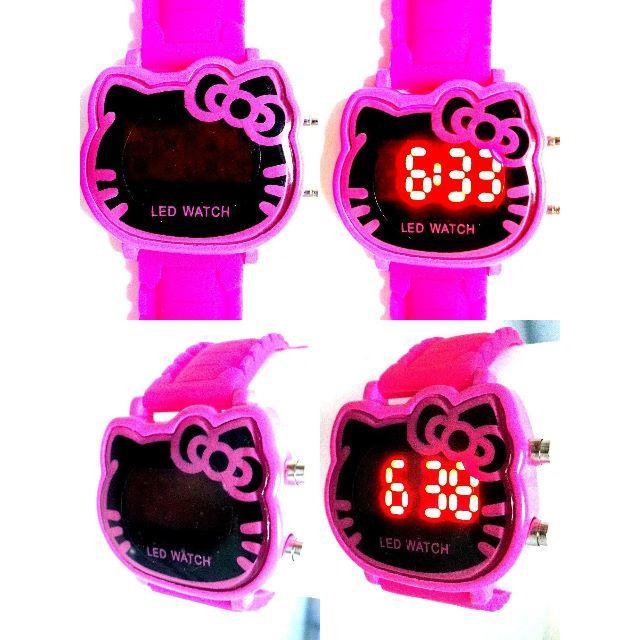 ハローキティ Hello Kitty フェイス型LEDウォッチピンク インテリア/住まい/日用品のインテリア/住まい/日用品 その他(その他)の商品写真