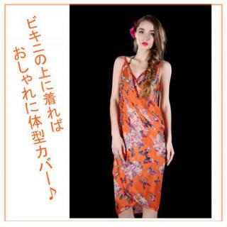 パレオ ビーチラップスカート オレンジ 蝶 花 ビーチドレス リゾートドレス(その他)