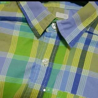 GU - GU ブルー系チェックシャツ 150