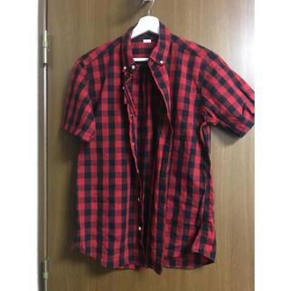 チェックシャツ 半袖 赤