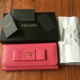 プラダ(PRADA)のプラダ PRADA 長財布 本革 二つ折り ピンク 蝶結び(財布)