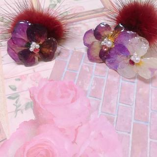 ボルドーミンクファーとお花イヤカフセット(ピアス)