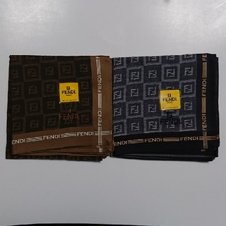 フェンディ(FENDI)のFENDI メンズハンカチ 新品 2枚セット(ハンカチ/ポケットチーフ)