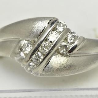 Pt850 プラチナ 合計 0.27ct ダイヤモンドリング 11号 指輪  (リング(指輪))