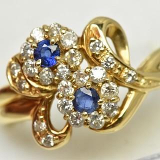 K18 ゴールド サファイア ダイヤモンドリング 15号 指輪  (リング(指輪))