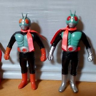 バンダイ(BANDAI)のダブルライダー 仮面ライダー 1号 2号 1980年代後半頃のソフビ 美品(特撮)