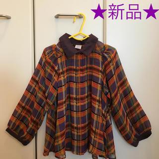 アナスイミニ(ANNA SUI mini)の【新品】アナスイミニ シフォンブラウス 紫&オレンジ ANNA SUI mini(ブラウス)