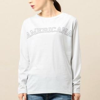 アメリカーナ(AMERICANA)の新品未使用タグ付き ロゴプリント 長袖カットソー グレー アメリカーナ(Tシャツ(長袖/七分))