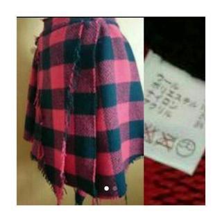 アゴストショップ(AGOSTO SHOP)の アゴスト 巻きスカート ブロックチェック(ひざ丈スカート)