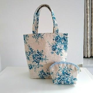 ミニトートバッグ&シェル型ポーチセット ブルーの薔薇 ハンドメイド