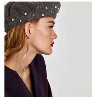 ザラ(ZARA)のザラ ZARA パール付き ベレー帽(ハンチング/ベレー帽)