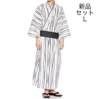 新品 メンズ 紳士 浴衣 セット L 帯 下駄 ゆかた 学園祭 着物 コスプレ(浴衣)