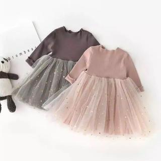 新作新品♡70cm♡長袖星柄&月柄チュチュベビードレス♡ピンク(ワンピース)