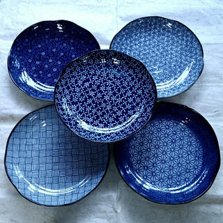 美濃焼  今様古染  軽量多用皿揃  特別価格‼️